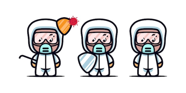 Set van schattige medische mascotte ontwerp pictogram illustratie