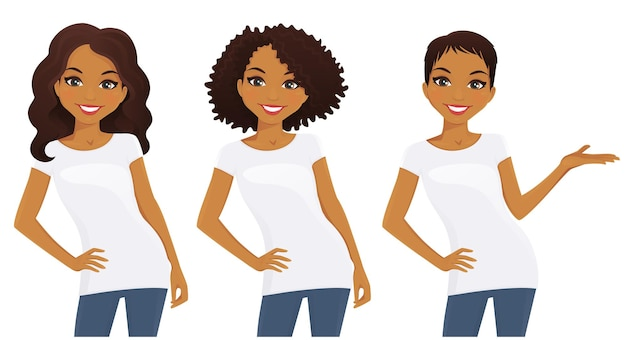 Set van schattige meisjes met verschillende kapsels in witte t-shirts