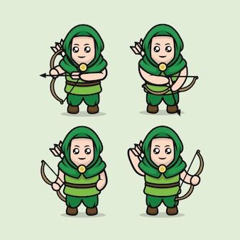 Set van schattige middeleeuwse boogschutter mascotte ontwerp illustratie sjabloon