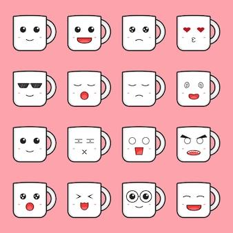 Set van schattige mok emoticon cartoon pictogram vectorillustratie. ontwerp geïsoleerd op roze. platte cartoonstijl.