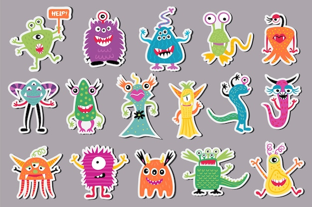 Set van schattige monsters in de vorm van stickers.