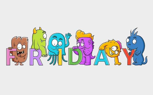 Set van schattige monsters karakter (vrijdag)