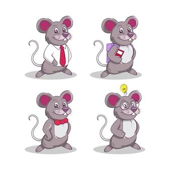 Set van schattige muis mascotte logo-ontwerp