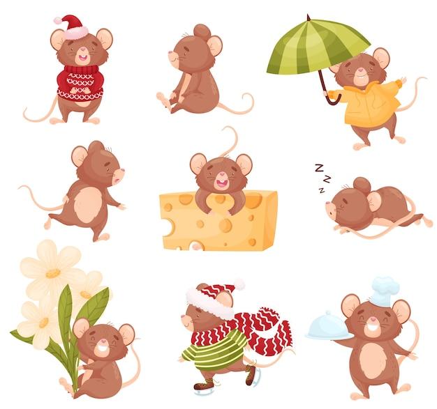 Set van schattige muizen in verschillende situaties