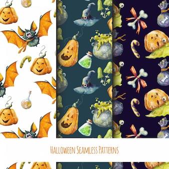 Set van schattige naadloze halloween-patronen