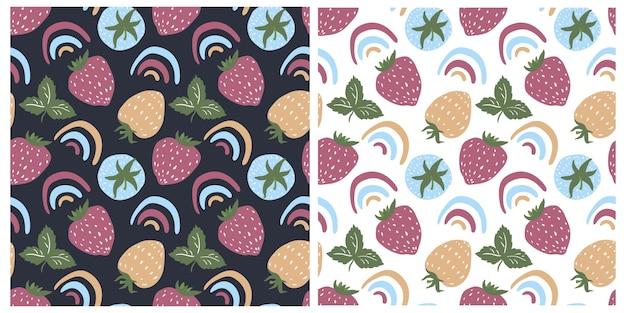 Set van schattige naadloze patronen in de donkere en witte achtergrond aardbeien scandinavische regenbogen