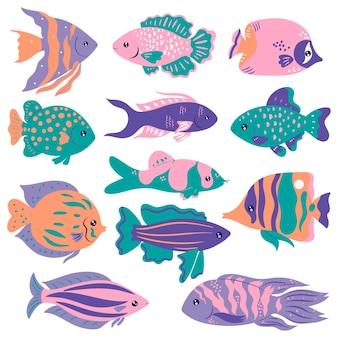 Set van schattige oceanische vissen geïsoleerd op een witte achtergrond.