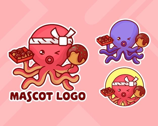 Set van schattige octopus takoyaki mascotte logo met optioneel uiterlijk.
