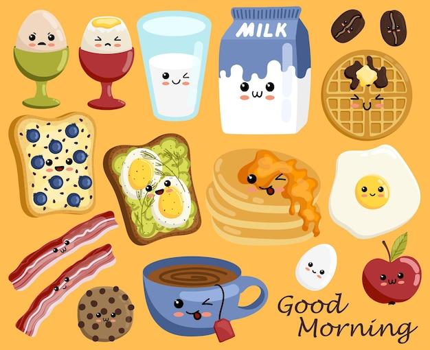 Set van schattige ontbijtvoedselpictogrammen in kawaii-stijl