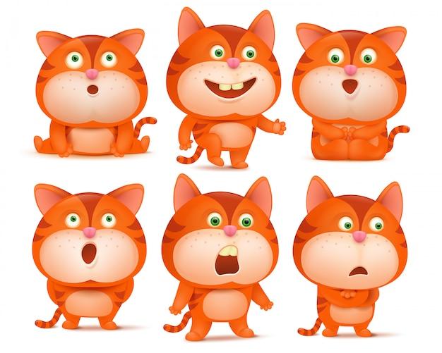 Set van schattige oranje kat stripfiguren in verschillende poses.