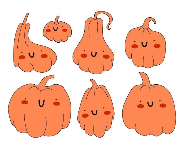 Set van schattige oranje pompoenen met ogen en een glimlach
