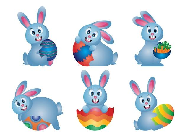 Set van schattige paas-tekenfilm konijnen met eieren en elementen premium vector