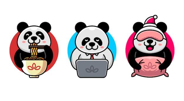 Set van schattige panda activiteiten logo mascotte