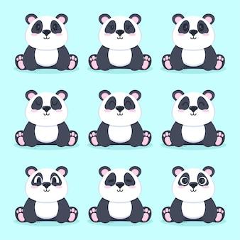 Set van schattige panda platte ontwerp illustratie