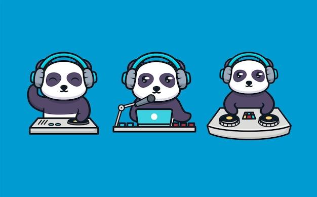 Set van schattige panda's met dj's apparatuur