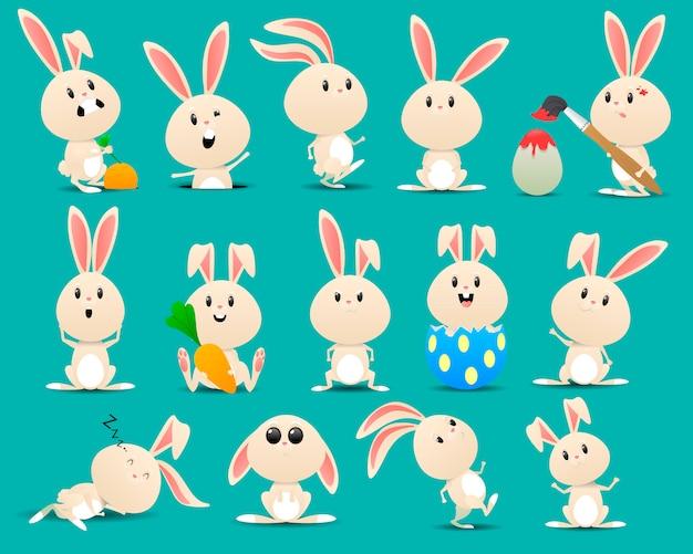 Set van schattige pasen konijnen met paaseieren