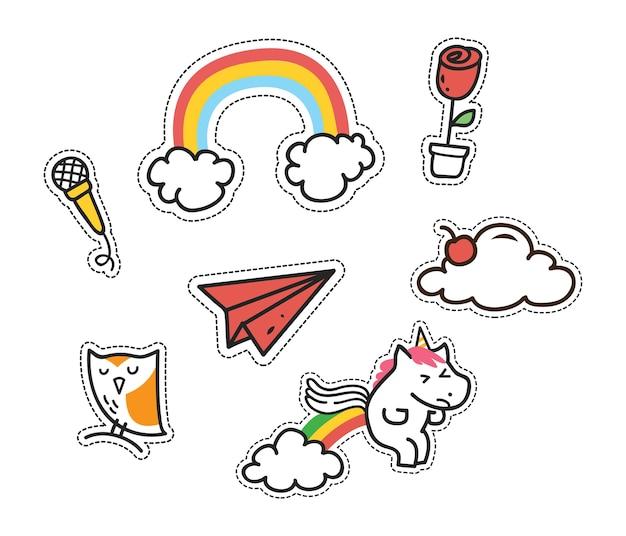 Set van schattige patches, leuke stickers set