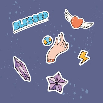 Set van schattige patches of sticker