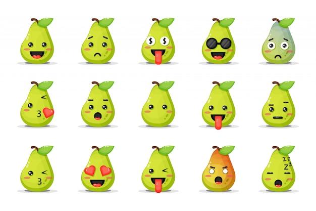 Set van schattige peer met emoticons