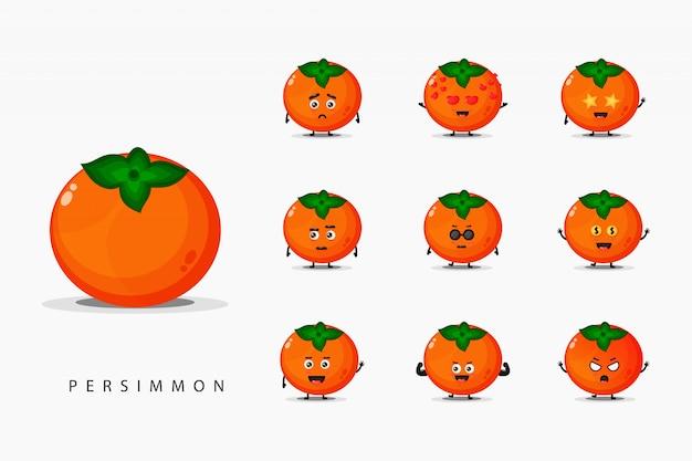 Set van schattige persimmon mascotte