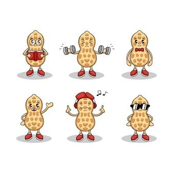 Set van schattige pinda mascotte logo ontwerp