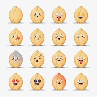 Set van schattige pinda's met emoticons