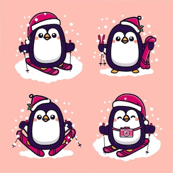 Set van schattige pinguïn skiën in de koude winter. kawaii cartoon vectorillustratie