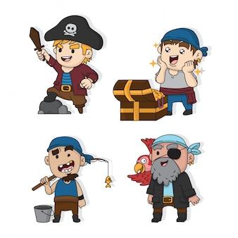 Set van schattige piraten expressie ontwerp