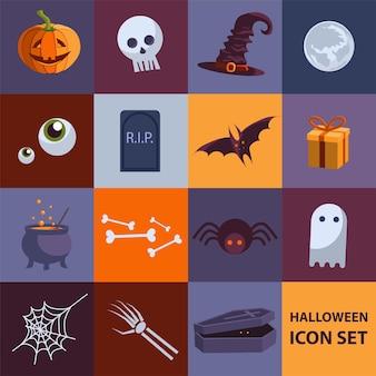 Set van schattige platte vector halloween-pictogrammen voor uw ontwerp vectorillustratie eps 10