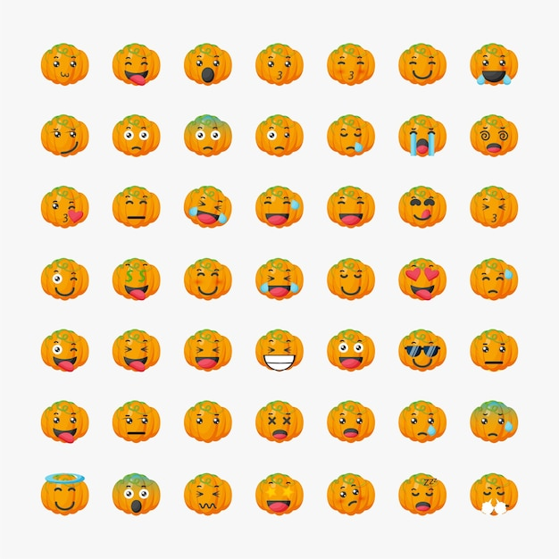 Set van schattige pompoen emoticon