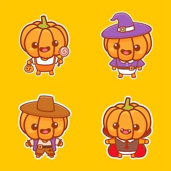 Set van schattige pompoenkarakters dragen halloween-kostuum. leuke sticker cartoon vector