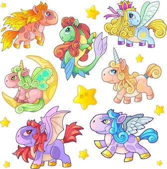 Set van schattige pony's