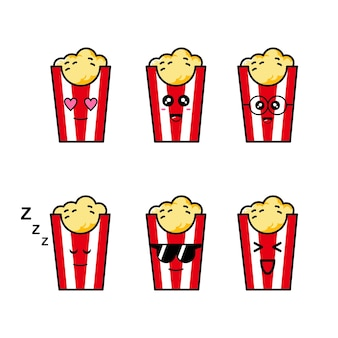 Set van schattige pop corn illustratie