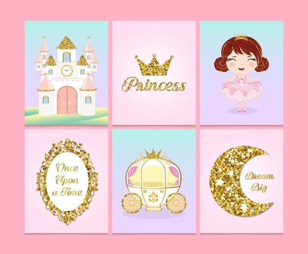 Set van schattige prinses ansichtkaarten