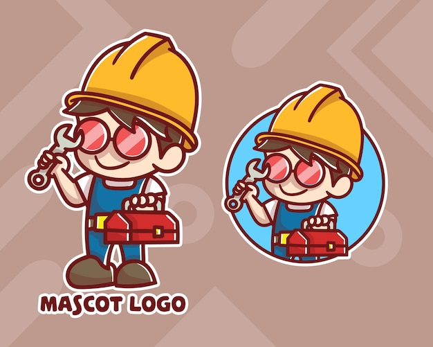 Set van schattige reparatie jongen mascotte logo met optioneel uiterlijk.