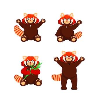 Set van schattige rode panda met bamboe kleine panda