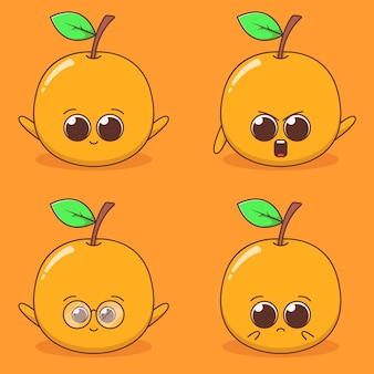 Set van schattige sinaasappelen expressie illustratie