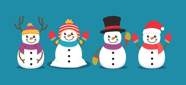 Set van schattige sneeuwpop kerst mascotte illustratie