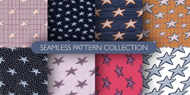 Set van schattige sterren ornament naadloze doodle patroon