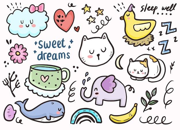 Set van schattige sticker slapende kat, wolken en dieren doodle tekening collectie