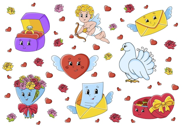 Set van schattige stripfiguren valentijnsdag clipart