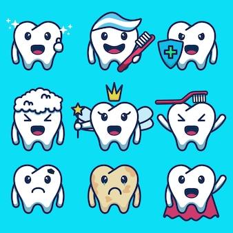 Set van schattige tand characterdesign plat. vectorillustratie met verschillende uitdrukkingen en stijlen