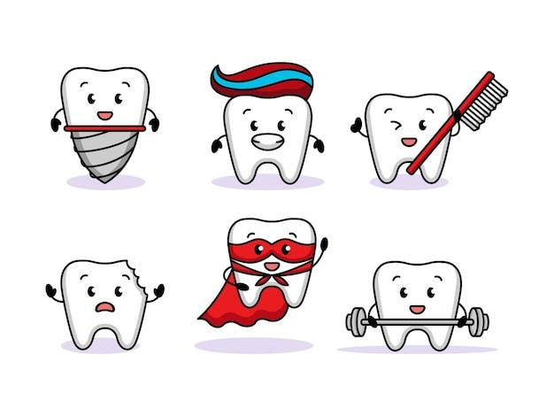 Set van schattige tanden tandheelkundige gezondheid mascotte ontwerp