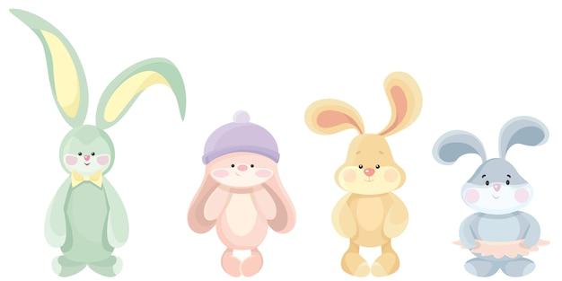 Set van schattige teddy hazen. mooi speelgoed in cartoon-stijl.