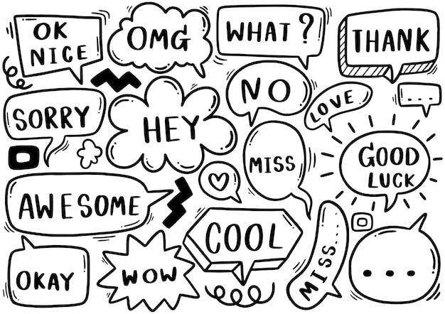 Set van schattige tekstballon eith tekst in doodle stijl