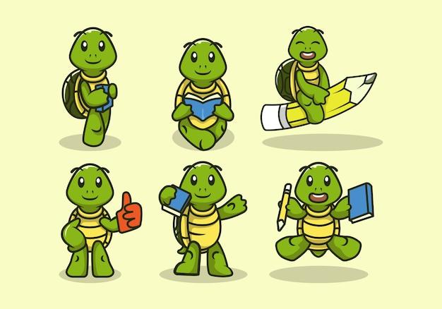 Set van schattige terug naar school schildpad mascotte