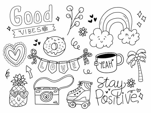 Set van schattige tiener stickers in lijnstijl