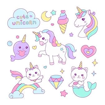 Set van schattige unicorn elementen illustratie