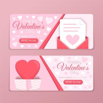 Set van schattige valentijnsdag banners