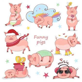 Set van schattige varkens